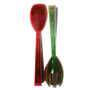 Party Essentials Hard Plastic Two-Piece Forks/Spoons Serving Utensil Set, 24cm , Assorted Neon Colours, Set of 6