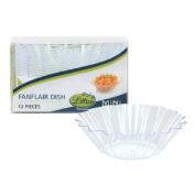 Lillian Tablesettings 12 Count Mini Plastic Fanflair Dish, Clear