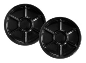 Party Essentials Soft Plastic 30cm Round Divided Catering Trays, Black, 2-Pack