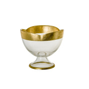 Classic Touch CFB116 Flower Shaped Footed Bowl with Gold Decoration, 16cm