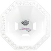 Lillian Tablesettings 34596 2 Count Lacetagon Plastic Bowl, 2840ml, Pearl White
