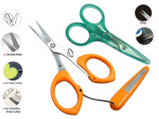 One Touch Cut VERY SHARP Craft Scissors w/ Cover for Safety Serrated 13cm & Straight 10cm for Multi-use - Sewing, Embroidery, Quilting, Beading & Everyday Use