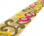 Floral Pattern Embroidered 6.86 Cm Wide Net Fabric Crafting Lace Trim By The Yard