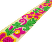 Floral Pattern Embroidered 5.59 Cm Wide Net Fabric Crafting Lace Trim By The Yard