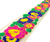 Floral Pattern Embroidered 6.35 Cm Wide Net Fabric Crafting Lace Trim By The Yard