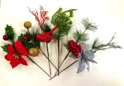 Set of 6 Christmas 23cm Floral Pick Greenery Decor Ornament Picks - Perfect for Christmas Floral Arrangements and Any Winter Decor