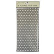 Printed Tissue Paper - Silver Polka Dot - 9 Sheets - Size 8.1m x 6m