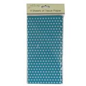 Printed Tissue Paper - Green Polka Dot - 9 Sheets - Size 8.1m x 6m
