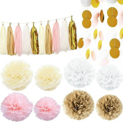 Kubert Party 36 pcs Pink white Ivory Gold Tissue Paper Pom Pom Gold Tissue Pom Pom Paper Tassel Polka Dot Paper Garland for Baby Shower Decoration Wedding Nursery Decorations Bridal Shower