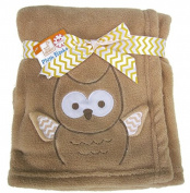 Brown Owl Plush Baby Blanket with Wings That Stick Out
