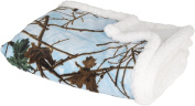 Baby Blue Camo and White Soft Sherpa Baby Blanket with Coral Fleece