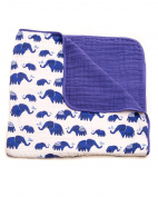 Little Unicorn Cotton Muslin Blanket Quilt- Indie Elephant, Indigo, Navy