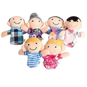 Vinmax Cute 6pcs Family Finger Puppets - People Includes Mom, Dad, Grandpa, Grandma, Brother, Sister