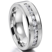 Chryssa 6mm Tungsten Carbide Ring with Brilliant CZ Diamonds Mens Wedding Band 5 to 12(SZZ-08)