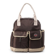 Nappy Backpack Interchangable to Shoulder and Tote Bag - 3 In 1 Multi-functional with Changing Pad and Insulated Pocket, Coffee Brown