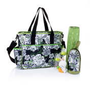 . Ripstop Nappy Bag Organiser with Baby Changing Pad, Zebra Strips, Lilies
