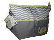 Little Me Grey Yellow Tote Nappy bag Elephant w/ Changing Pad 4 pockets Unisex
