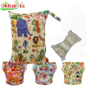 Baby Waterproof Reuseable Training Nappy Nappies 3pcs, 1pc Wet Dry Bag by Ohbabyka