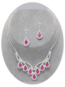 Pink Crystal Necklace Set Silver Teardrop Sparkling Bridesmaid Prom Jewellery Nicely Boxed