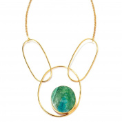 Women's Oval Drusy Agate Gold Plated Brass Link Necklace w/ 5.1cm Extender