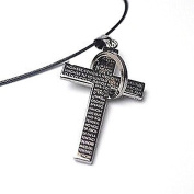 Easter, Women's Black Cross W/ Bible Verse Leather Cord Necklace