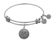 Angelica Collection Antique White Brass Peace Symbol Bangle Bracelet