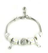 Athena Jewellery Murano Glass Bead Daisy Crystal Snake Chain Bracelet