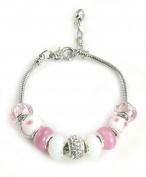 Athena Jewellery Murano Glass Bead Pink Multi Snake Chain Bracelet