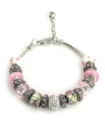 Athena Jewellery Murano Glass Bead MultiCharm Snake Chain Bracele