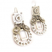 Earrings / Dormeuses 'french touch' 'Queen' silvery.