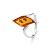 Sterling Silver Leaf Shaped Cognac Amber Ring, Size 6, 7, 8, 9