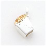 Yellow Enamelled Box Of Popcorn Charm, Sterling Silver