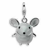 Best Designer Jewellery Sterling Silver 3-D Enamelled Grey Mouse w/Lobster Clasp Charm