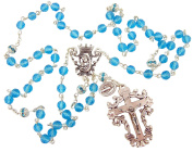 Womens Catholic Gift 6MM Diamond Cut Aqua Crystal Bead Silver Tone Miraculous Medal Charm Madonna and Child Centrepiece 70cm Rosary Necklace