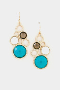 GlitZ Finery Hammered Circles with Faceted Stone Accent Dangle Earring