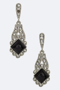 Chic Chelsea Onyx & Crystal Drop Earrings