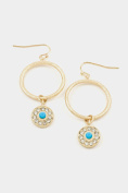 GlitZ Finery Textured Circle with Crystal Dangle Earring