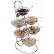 Aps Paderno World Cuisine Chromed 4-Tier Buffet Ladder and Medium Bowl Set