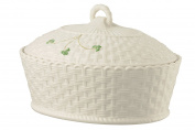 Belleek Pottery 1325 Shamrock Oval Covered Dish, 1390ml, White