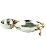 Elegance 70041 Golden Vine Hammered Chip & Dip, Gold/Silver