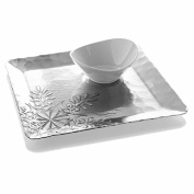 Wendell August Forge Snowflake Chip and Dip Set, Silver