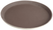 Stanton Trading Non Skid Rubber Lined 36cm Plastic Round Economy Serving Tray, Tan