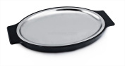 New Star Foodservice 26733 Oval Stainless Steel Sizzling Platter with Insulated Holder, 30cm by 20cm , Black
