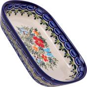 Polish Pottery Ceramika Boleslawiec, 0726/238, Butter Platter, 6 Long by 11cm Wide - 2 Cubes, Royal Blue Patterns with Red Cornflower and Blue Butterflies Motif