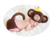 Baby Box Newborn Photography Crochet Cloting Outfit Props,Monkey