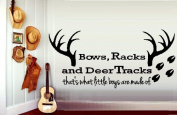 BOWS RACKS, AND DEER TRACKS #1 that's what little boys are made of ~ WALL DECAL 30cm X 70cm