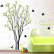 BIBITIME My Time Change Free Tree Green Leaves Flying Black Swallows Birds Bird Quote Removable Vinyl Wall Decal Mural Home Art DIY Decor Sticker