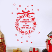 BIBITIME Red Saying Merry Christmas & Happy New Year Wall Sticker Wreath with Star Ball Knife Fork Cane Snowman Tree Window Snowflakes Decor