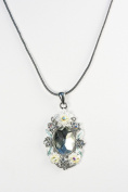 Karmas Canvas Crystal & Flower Drop Pendant Necklace