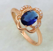 SKCUTE trendy jewellery Deep blue Cubic zirconia stone 18K yellow Gold Plated cz Blue sapphire rings